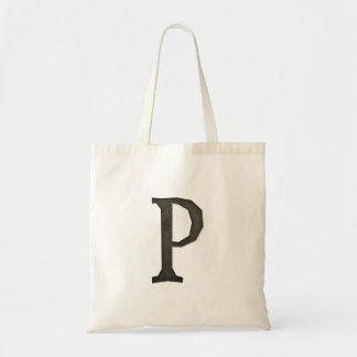 Lettre concrète P de monogramme Sac