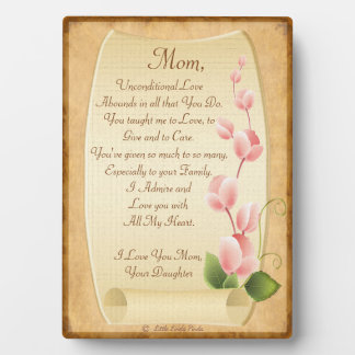 Lettre d'amour de Personalizable à la maman de la Plaque Photo