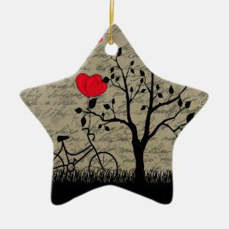 Lettre d'amour ornement étoile en céramique