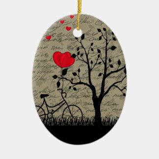 Lettre d'amour ornement ovale en céramique