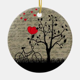 Lettre d'amour ornement rond en céramique