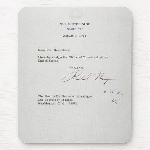 lettre de d 233 mission du pr 233 sident richard m nixon tapis de souris zazzle
