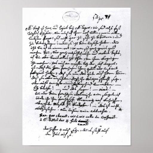 Lettre de Mozart à son père, le 5 avril Posters
