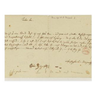 Lettre de Mozart à un franc-maçon, janvier 1786 Carte Postale