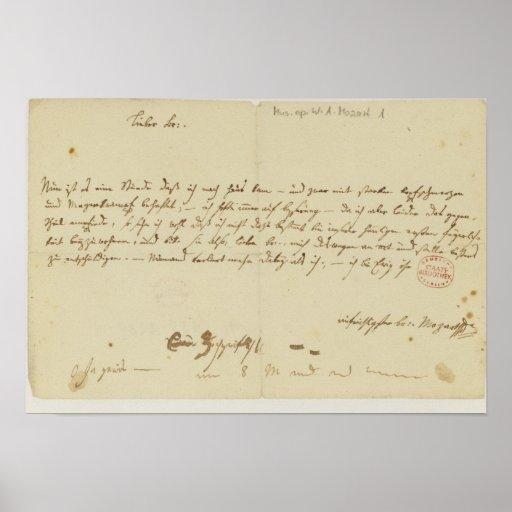 Lettre de Mozart à un franc-maçon, janvier 1786 Affiche