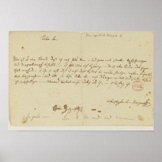 Lettre de Mozart à un franc-maçon, janvier 1786 Posters