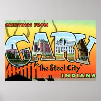 Lettre de ville en acier de Gary Indiana grande Posters