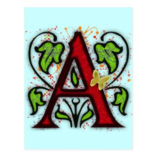 Lettre décorative A de monogramme Carte Postale