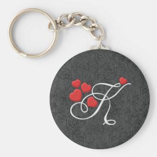 Lettre élégante K de coeurs Porte-clés