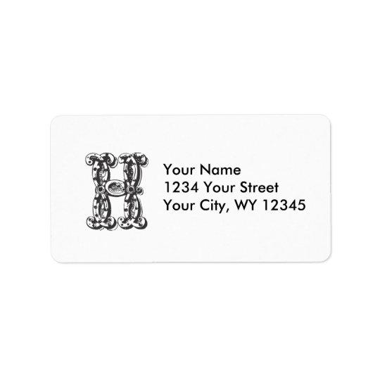 Lettre faite sur commande H de monogramme Étiquette D'adresse