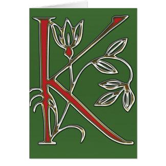 Lettre fleurie k carte de vœux