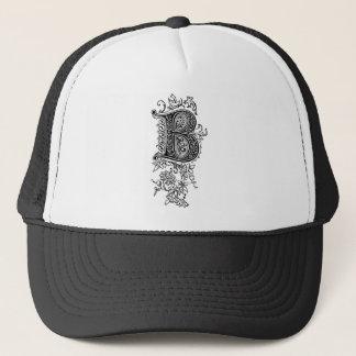 Lettre initiale florale vintage noire du casquette