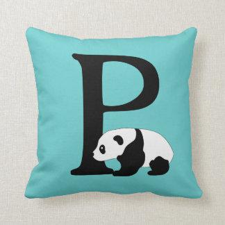 Lettre initiale P, coutume mignonne de monogramme Oreiller