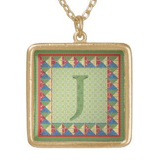 """Lettre J : Initiale et motif de style """"d'édredon d Pendentif Carré"""