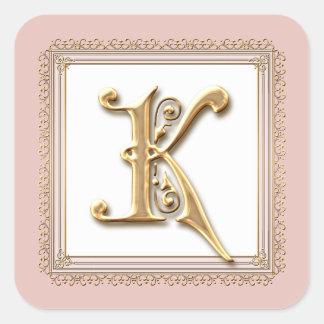 Lettre K - Joint formel classique d'or et de Sticker Carré