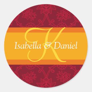Lettre K pour des joints de faire-part de mariage Sticker Rond