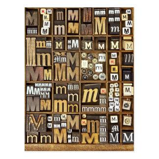 Lettre M Carte Postale