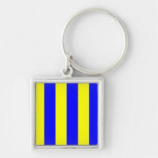 Lettre maritime internationale de drapeau de porte-clé carré argenté