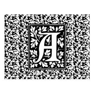 Lettre médiévale élégante un monogramme antique carte postale