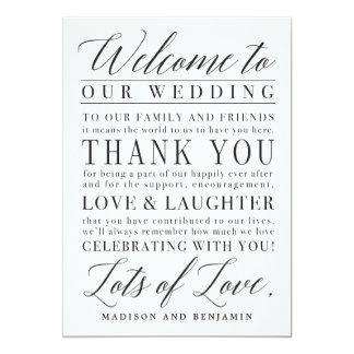 Lettre moderne de Merci d'accueil de mariage de Carton D'invitation 12,7 Cm X 17,78 Cm