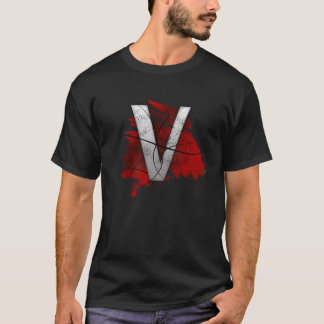 Lettre mortelle V de monogramme de conception T-shirt