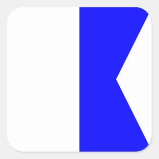 Lettre nautique A (alpha) de signal de drapeau Sticker Carré