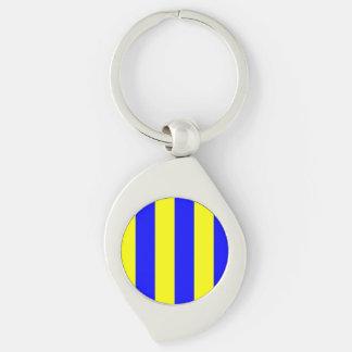 Lettre nautique G (golf) de drapeau Porte-clé Swirl Argenté