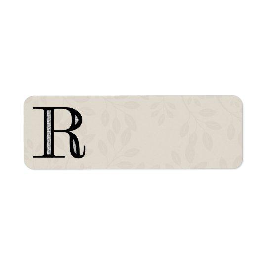 Lettre R - noir de damassé Étiquette D'adresse Retour