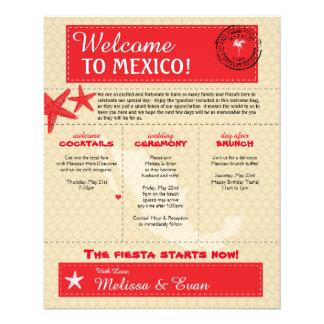 Lettre rouge d'accueil de mariage de Cabo Mexique Prospectus 11,4 Cm X 14,2 Cm