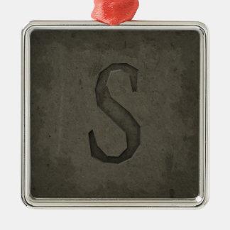 Lettre S concrète de monogramme Ornement Carré Argenté