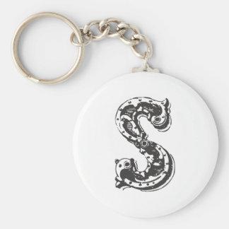 Lettre S de monogramme dans le noir Porte-clé Rond