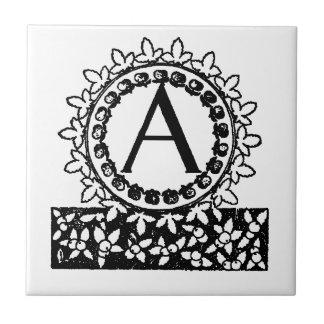 Lettre victorienne vintage A de monogramme Carreau