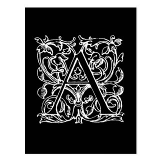 Lettre vintage un blanc noir décoré d'un carte postale