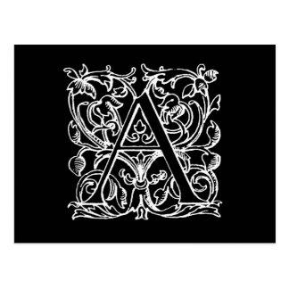 Lettre vintage un décoré d'un monogramme blanc de carte postale