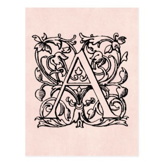 Lettre vintage un rose rose décoré d'un monogramme carte postale