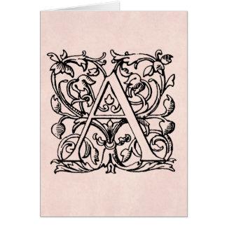 Lettre vintage un rose rose décoré d'un monogramme cartes de vœux