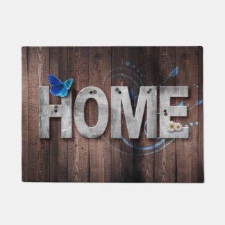 Lettres blanches avec un tapis bleu de maison de