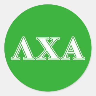 Lettres blanches de Chi de lambda alpha et vertes Sticker Rond
