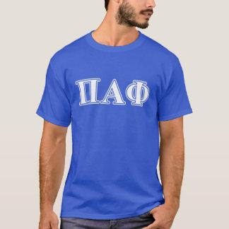 Lettres blanches et bleues d'alpha phi de pi t-shirt