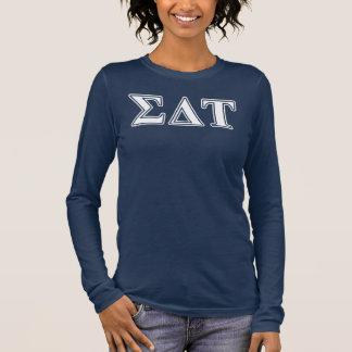 Lettres blanches et bleues de Tau de delta de T-shirt À Manches Longues