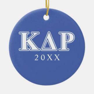 Lettres blanches et bleues de thêta de Kappa de Ornement Rond En Céramique