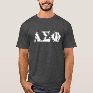 Lettres blanches et grises d'alpha phi de sigma t-shirt