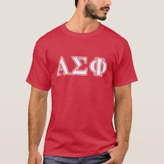 Lettres blanches et rouges d'alpha phi de sigma t-shirt