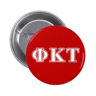 Lettres blanches et rouges de Tau de Kappa de phi Pin's