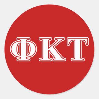 Lettres blanches et rouges de Tau de Kappa de phi Sticker Rond