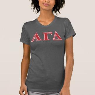 Lettres blanches et vertes d'alpha delta gamma t-shirt
