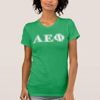 Lettres blanches et vertes d'alpha phi epsilon t-shirt