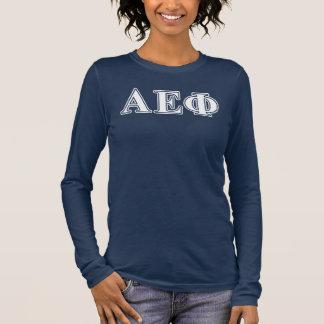 Lettres blanches et vertes d'alpha phi epsilon t-shirt à manches longues