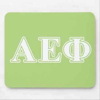 Lettres blanches et vertes d'alpha phi epsilon tapis de souris