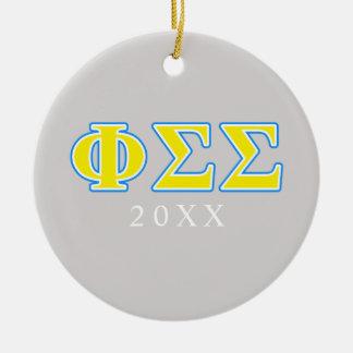 Lettres bleues et jaunes de sigma de sigma de phi ornement rond en céramique